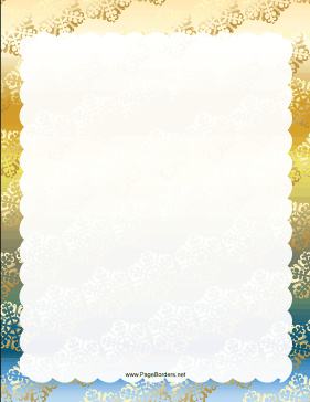 Gold Green and Blue Snowflake Border page border