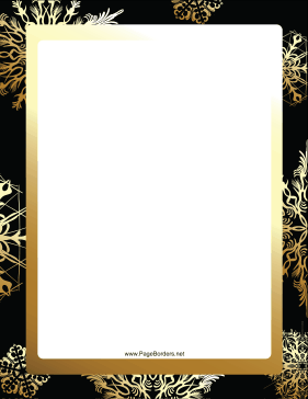 Gold and Gray Snowflake Border page border