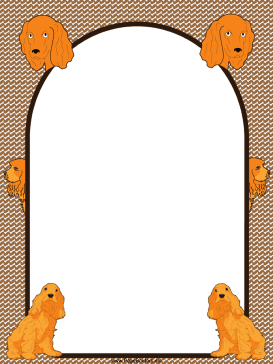 Golden Cocker Spaniel Dog Border page border