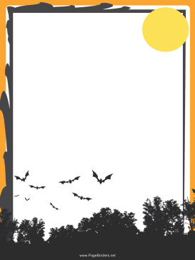 Gray Bats Halloween Border page border