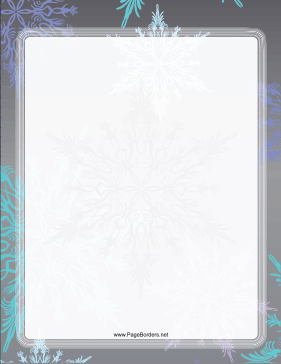 Gray and Blue Snowflake Border page border
