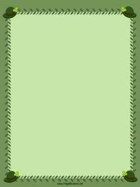 Green Hats St Patricks Day Border page border