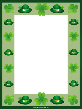 Green Hats and Shamrocks St Patricks Day Border page border