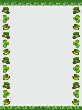 Hats and Shamrocks St Patricks Day Border page border