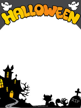 Haunted House Halloween Border page border