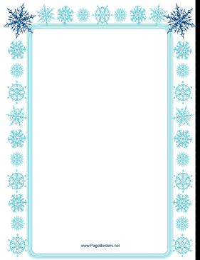 Light Blue Snowflake Border Page Border  Free Page Borders For Microsoft Word