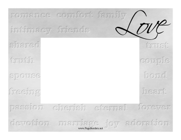 Love Silver Frame Horizontal page border