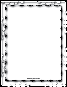 Oak Leaves Black and White Border page border
