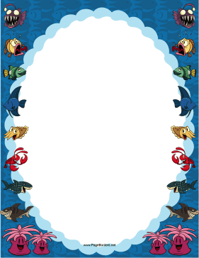 Ocean Animals Border page border