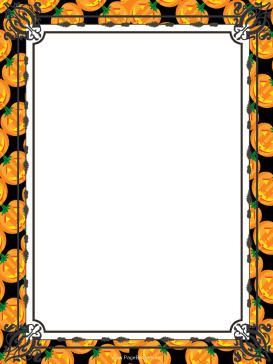 Orange Jack-o-Lanterns Halloween Border page border