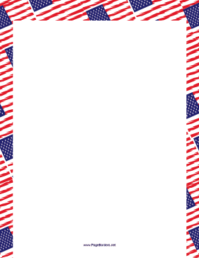 Overlapping American Flags Border page border