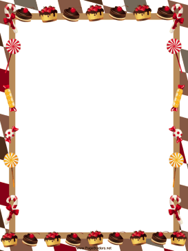 Pastries and Candy Christmas Border page border