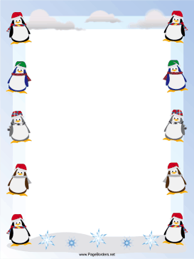 Penguins Christmas Border page border