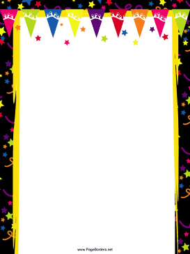 Pennants and Stars Party Border page border