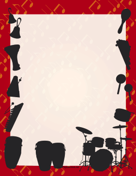 Percussion Silhouette Border page border