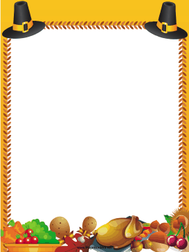 Pilgrim Hats Thanksgiving Border page border