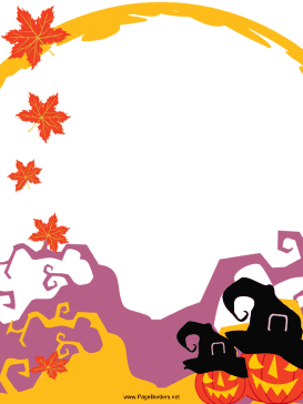 image relating to Free Printable Halloween Borders titled Pumpkins with Hats Halloween Border