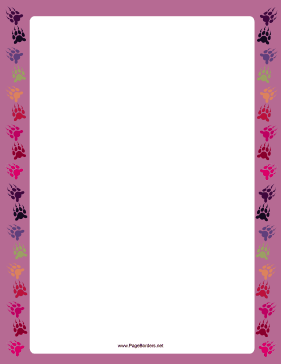 Purple Bear Paw Print Border page border