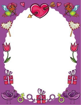 Purple Valentines Day Border page border