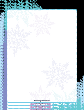Purple and Green Snowflake Border page border
