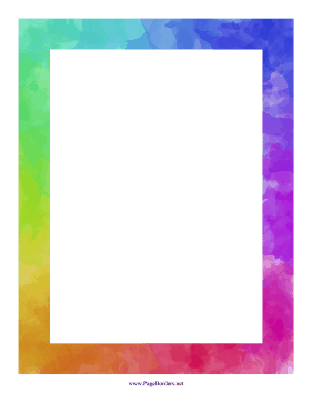Rainbow Watercolor Border page border