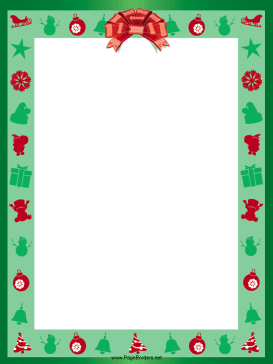 Red Ribbon Christmas Border page border