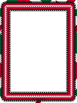 Red White and Green Eyelet Border page border