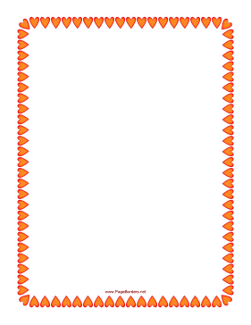 Red and Orange Hearts Border page border