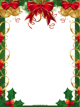 Ribbons Bells and Holly Christmas Border page border