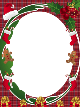 Santa Hat and Holly Christmas Border page border