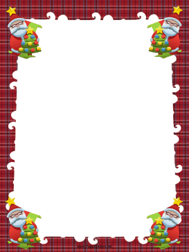 Santas and Trees Christmas Border page border