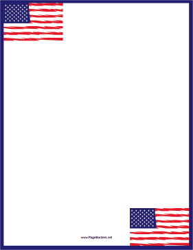 Six American Flags Blue Border page border