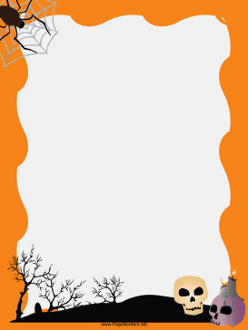 picture relating to Free Printable Halloween Borders identified as Spider and Skulls Halloween Border