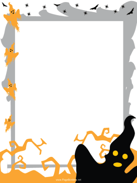 Spooky Ghosts Halloween Border page border