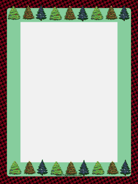 Trees on Houndstooth Christmas Border page border