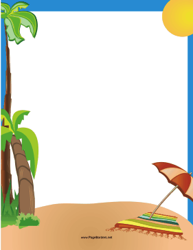 Tropical Beach Border page border