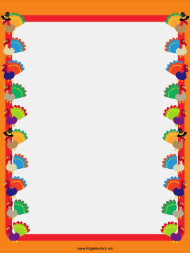 Turkey Columns Thanksgiving Border page border