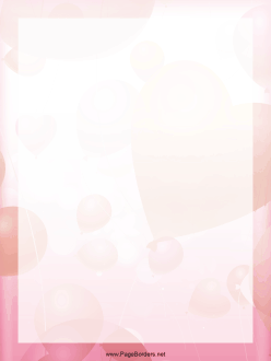 Valentine Balloons Border page border