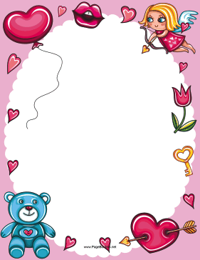 Valentines Day Cupid and Bear Border page border