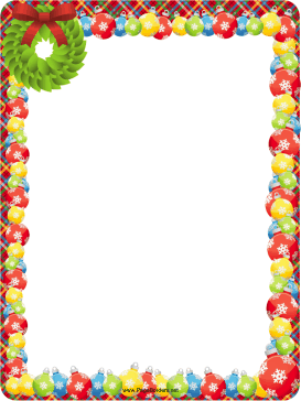 Wreath and Ornaments Christmas Border page border