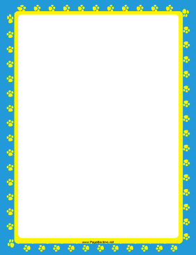 Yellow-and-Blue Paw Print Border page border
