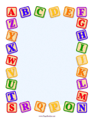 Alphabet Blocks Border page border